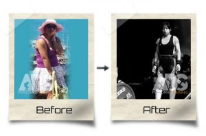 The Abs Gym - Before After Photo - Woman lost weight and became a powerlifter